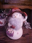 Red Hat Society lady snowman  cookie jar red hat & boa