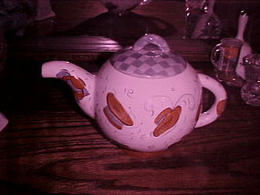 Red Hats hand painted teapot Hausenware Sally Noll
