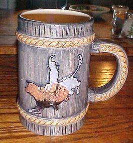 Russ Ceramic Rodeo Bull Rider Western beer mug