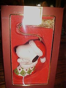 Lenox porcelain Snoopy in stocking  ornament Mint in pk