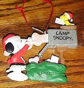 Kurt Adler Camp Snoopy & Woodstock mailbox ornament
