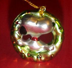 Kurt Adler Snoopy in wreath MINI Christmas ornament