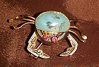 Vintage 1950's damascene crab pin blue Venetian stone