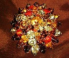 Large Vintage  high domed  fall colors brooch topaz