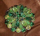 Vintage  multi green's rhinestone pin brooch