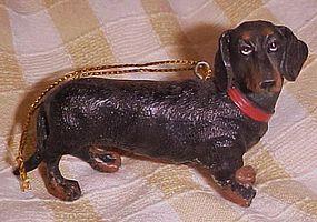 Resin Dachshund  dog figural tree ornament