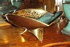 Vintage  50's Oppehheim brass and green verdigris bowl