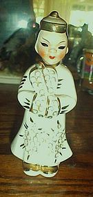 Lefton Asian man / boy with rhinestones figurine