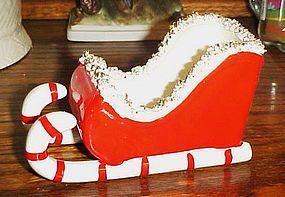 Vintage Holt Howard candy cane sleigh spaghetti trim