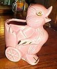 Vintage pink duckling and egg cart planter gold trim