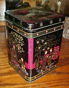 Vintage Chinese scenic tea tin canister