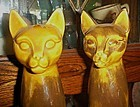 Large mid century pr ceramic cat figurines desert gold
