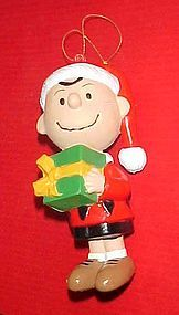 Peanuts Charlie Brown holding Christmas gift ornament