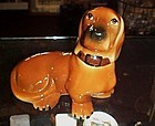 Large vintage ceramic red daucshund dog figurine 7 3/4""