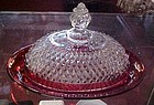 Indiana Ruby flashed diamond point oval butter dish