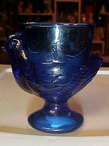 Vintage cobalt glass hen chicken egg cup