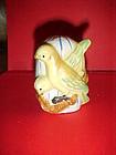 Antique porcelain bird feeder hand painted yellow birds