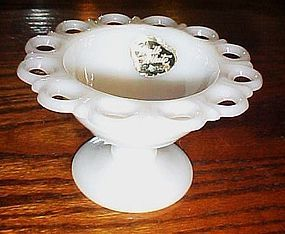 Anchor Hocking Milk White lace edge footed dish
