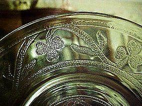 """Hazel Atlas green depression 6"""" sherbert plate Cloverleaf pattern"""
