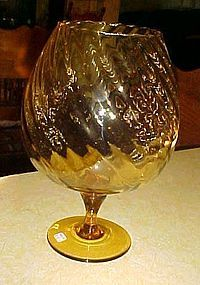 Large amber hand blown swirl brandy snifter Vintage 1970's