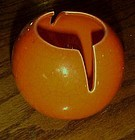 Mid Century 50's Vohann of California  orange crackle orb ball ashtray