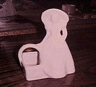 Vintage USA lady in bonnet with basket pottery planter all white