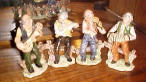 "Four piece hand painted Italian musicians band figurines 7 3/4"" tall"