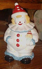 Adorable friendly happy clown  ceramic cookie jar