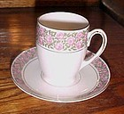 Antique MZ Austria  Moritz Zdekauer demitasse cup n saucer Roses band