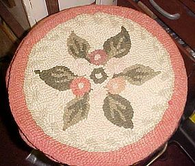Antique wool latch hooked rug circular chair pad