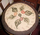Antique latched hook rug circular chair pad