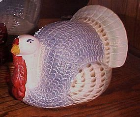 Large blue turkey glazed ceramic centerpiece figurine