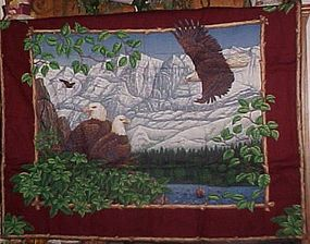 Finished ready to hang Eagle family fabric wall hanging
