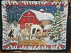 Finished ready to hang Barnyard animals snowy winter wall hanging