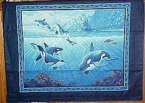 Finished fabric Orca killer whales underwater scene wall hanging