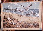 finished fabric ocean beach and seagulls wall hanging ready to hang