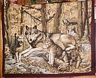 Finished wolf family wall hanging, ready to use
