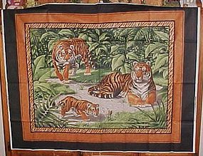 1 yd uncut fabric panel tiger family in jungle new old stock