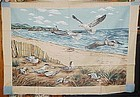 1 yd uncut fabric panel Ocean and seagulls  new old stock