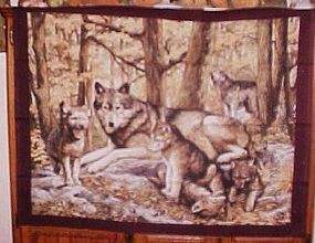 1 yd uncut fabric panel Timber wolf family  new old stock