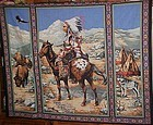 1 yd uncut fabric panel Colorful Native American Indian Chief on horse