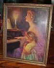 Antique framed Art Noveau print of the piano lesson all original