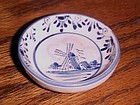 Vintage hand painted delft blue windmill open salt dip beehive mark