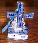 Vintage Delft blue Dutch windmill Christmas ornament