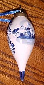 Vintage Holland Delft teardrop Christmas ornament hand painted