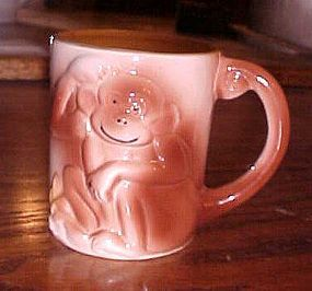 Vintage Childrens ceramic monkey cup