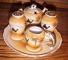 Vintage Japan hand painted desert camels salt pepper condiment set