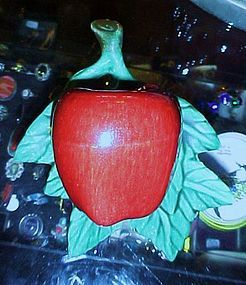 Vintage glazed ceramic red apple wall pocket