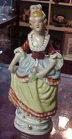 "Hand painted Colonial lady figurine 7.5"" Japan"