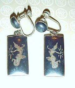 Vintage dangle earrings Siam Sterling n black dangle earrings dancers